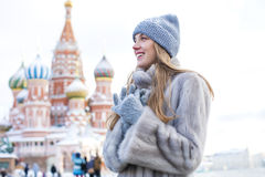 Free Young Woman In A Blue Knitted Hat And Gray Mink Coat Royalty Free Stock Photos - 83101018
