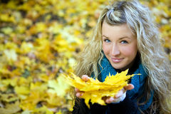 Young Woman In Autumn Royalty Free Stock Photography