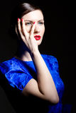 Young Woman In Blue Dress Stock Photo