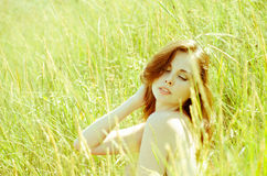 Free Young Woman In Field Nude Royalty Free Stock Image - 83481936