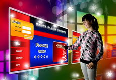 Young Woman In Futuristic Interface Royalty Free Stock Photography