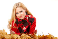 Young Woman In Red Sweater Stock Photography