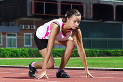 Free Young Woman In Sprinting Position Stock Photography - 20311052