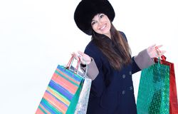 Young Woman In Winter Clothes With Shopping Bags Royalty Free Stock Photography