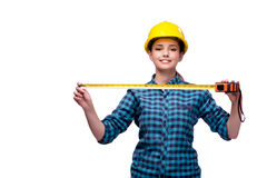 The young woman in industrial concept isolated on white Stock Photography
