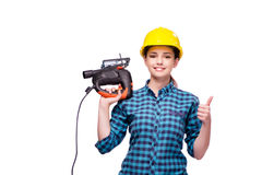 The young woman in industrial concept isolated on white Stock Photo