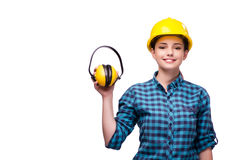 The young woman in industrial concept isolated on white Stock Photos