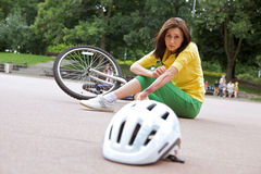 Young woman injured Stock Photo