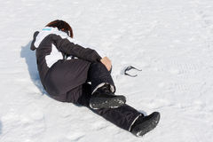 Young woman injured snow pain Royalty Free Stock Images