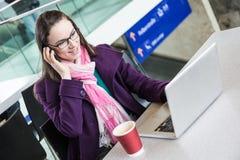 Woman inside Train Station Stock Photo