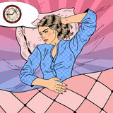 Young Woman with Insomnia Lying in Bed. Pop Art retro illustration. Young Woman with Insomnia Lying in Bed. Pop Art retro vector illustration Royalty Free Stock Image