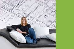 Young woman and interior house plan concept royalty free stock images
