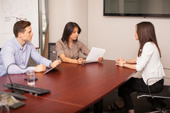 Young woman in an interview Stock Images