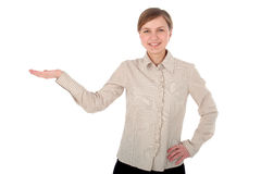 Young woman introducing something stock photography