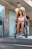 Young woman on invalid chair Royalty Free Stock Photography