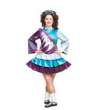 Young woman in irish dance dress posing isolated Royalty Free Stock Photos