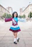 Young woman in irish dance dress posing Royalty Free Stock Photos
