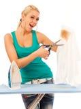 Young Woman Ironing Stock Photos