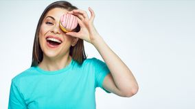 Young woman isolated portrait with cake. Stock Image