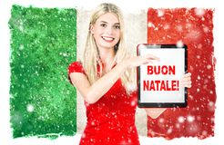 Young woman italian national flag Merry Christmas buon natale royalty free illustration