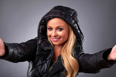 Young woman in a jacket Royalty Free Stock Photo