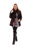 Young woman in jacket and boots. Royalty Free Stock Photography