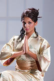 Young Woman In Japanese Clothing Royalty Free Stock Photo