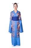 Young woman in Japanese kimono stock photos