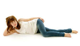Young Woman in Jeans and Barefoot Royalty Free Stock Photos