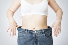 Young woman in jeans of large size, concept of weight loss royalty free stock photo