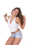 Young woman in jeans shorts Royalty Free Stock Photo