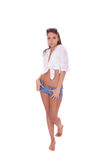 Young woman in jeans shorts Stock Photo