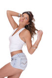 Young woman in jeans shorts Stock Photography