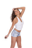 Young woman in jeans shorts Stock Image