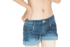 Young woman in jeans shorts Royalty Free Stock Images