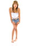 Young Woman In Jeans Skirt Stock Photography