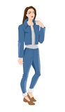Young woman in jeans suit with coffee. Vector illustration of young woman in jeans suit with coffee Stock Photo