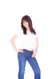 Young woman in jeans and t shirt Royalty Free Stock Image
