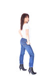 Young woman in jeans and t shirt Royalty Free Stock Photos
