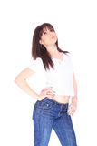 Young woman in jeans and t shirt Stock Photo