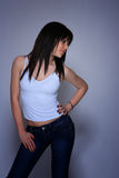 Young woman in jeans and t shirt Royalty Free Stock Photo