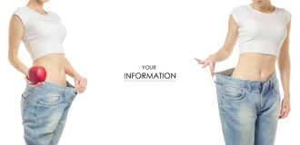 Young woman in jeans weight loss slimming with apple set pattern. On white background isolation Stock Photography