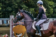 Young woman jockey in white black dress and black boots, takes part in equestrian competitions. Close-up royalty free stock photos