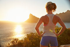 Young woman after jogging royalty free stock image