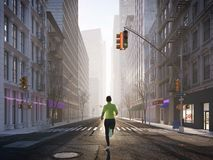 Young woman jogging alone in the streets of city. 3d rendering royalty free stock photo