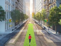 Young woman jogging alone in the streets of city on a green arrow. 3d rendering Royalty Free Stock Image