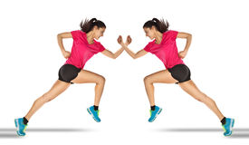 Sport woman starting running. Mirror effect. Royalty Free Stock Photo