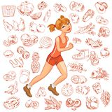 Young woman jogging. Health and fitness. Vector illustration. Isolated on white background Stock Photo