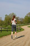 Young Woman Jogging Outdoor Park Royalty Free Stock Image
