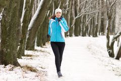 Young woman jogging in winter park Stock Images